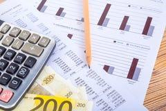 与铅笔和计算器的欧洲钞票在收入报告 免版税库存照片