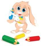 与铅笔的兔宝宝 库存照片