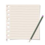 与铅笔的备忘录纸 免版税图库摄影