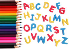 与铅笔的字母表信函 免版税库存照片