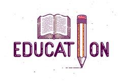 与铅笔的教育词而不是信件我和书、研究和学习概念、传染媒介概念性创造性的商标或者海报 向量例证