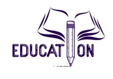 与铅笔的教育词而不是信件我和书、研究和学习概念、传染媒介概念性创造性的商标或者海报 库存例证