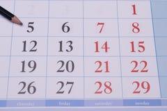 与铅笔的日历 免版税库存照片