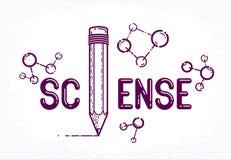 与铅笔的科学词而不是信件我和分子、物理和化学概念,传染媒介概念性创造性的商标或 皇族释放例证