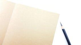 与铅笔的笔记本和空间为写道 免版税库存照片