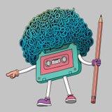 与铅笔的紧凑盒式磁带字符 超级蓬松卷发理发样式 Mixtape例证 您是下个姿态 流行音乐80s, 库存照片