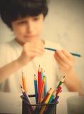 与铅笔的铅笔持有人 免版税图库摄影
