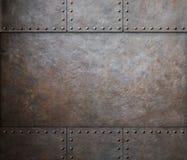 与铆钉的铁锈钢金属纹理当蒸汽废物 免版税库存照片