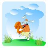 与铙钹的兔子 免版税库存照片