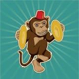 与铙钹的减速火箭的猴子 免版税图库摄影