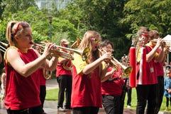 与铜管乐器的乐队 库存照片