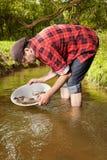 与铝平底锅金子的探油矿者摇摄在小河 免版税库存图片
