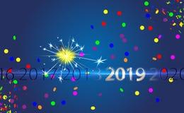 与银色题字2019年和孟加拉火的新年快乐蓝色背景 闪烁发光物传染媒介光线影响 党烟花魔术 库存例证