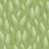 与银色绿色箔纹理的无缝的叶子样式 库存照片