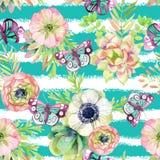 与银莲花属和草本的水彩无缝的样式 免版税库存图片