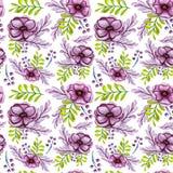 与银莲花属花和绿色叶子无缝的样式的水彩花束 库存照片
