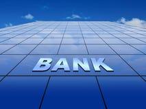 与银行符号的蓝色玻璃墙 图库摄影