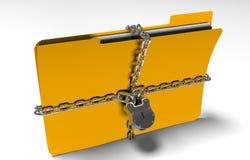 与链子和挂锁,隐式数据,安全, 3d的文件夹回报 免版税库存照片