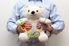 与链子的玩具熊 库存照片
