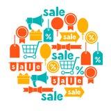 与销售和购物象设计的背景 库存例证