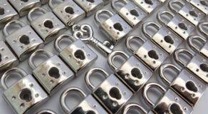 与锁和钥匙的有趣的背景,关于任务,问题 库存图片