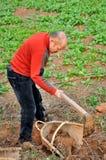 与锄的开掘的土壤 免版税图库摄影