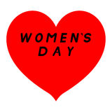 与锋利的技巧的红色心脏为与黑道路和一个黑积土说明的妇女的天 库存图片