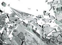 与锋利的片断的被拆毁的玻璃在白色 库存例证