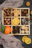 与锥体、姜饼曲奇饼、坚果、香料和干桔子的圣诞节背景 库存图片