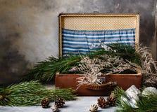 与锥体的云杉的分支和在一个手提箱的树玩具在灰色背景 库存图片