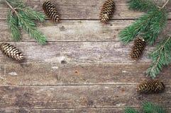 与锥体的绿色冷杉和杉木分支在木灰色纹理 圣诞节和新年度背景 文本的空间 图库摄影