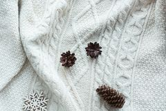 与锥体,在白色的雪花的圣诞节构成编织了毛线衣 另外的卡片形式节假日 例证百合红色样式葡萄酒 平的位置 库存图片