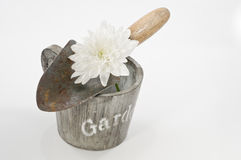 与锹、罐和白花的从事园艺的概念静物画 免版税库存照片