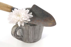 与锹、罐和白花的从事园艺的概念静物画 库存照片