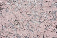 与镇压的桃红色油漆涂层在一块肮脏的灰色石头 剥桃红色油漆难看的东西 免版税库存图片
