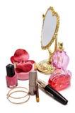 与镜子的化妆用品 免版税图库摄影