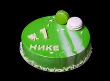 与镜子釉和题字的自创明亮的奶油甜点蛋糕 库存图片