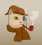 与镜片、棕色帽子、管子和围巾,动画片图画的猫 库存图片