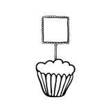 与镶褶边的方形的轻便短大衣的杯形蛋糕剪影 图库摄影