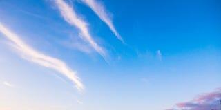 与镶边卷云的蓝天 库存照片