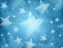 与镶边星的抽象蓝色背景 免版税库存照片