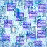 与镶边正方形的现代抽象背景在紫色和绿色 图库摄影