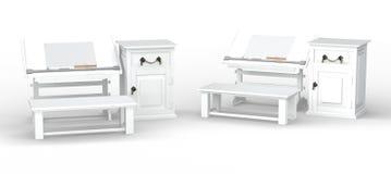 与长凳和内阁集合,裁减路线的白色制图桌我 免版税图库摄影