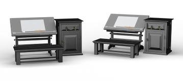 与长凳和内阁集合,裁减路线的黑制图桌我 免版税库存图片