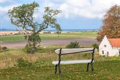 与长凳的风景 免版税库存图片