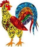 与长尾巴的雄鸡,禽畜,新年的标志,一只大公鸡,与一个样式的一个动物在身体 免版税库存照片