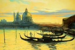 与长平底船的风景向威尼斯,绘 免版税库存图片
