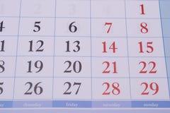 与长方形的日历 库存照片