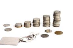 与长方形钥匙链的钥匙与迷离硬币堆 免版税图库摄影