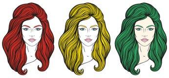 与长的头发的美丽的女孩面孔,组成和中立表示 在线传统化的手拉的妇女画象被设置 免版税库存图片